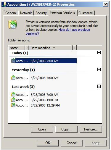 Windows previous file version